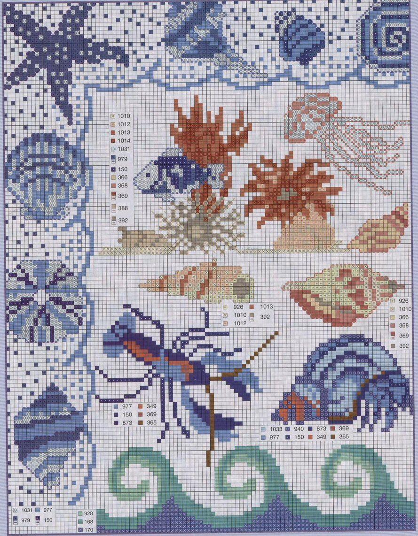 Schema punto croce marino 1 mare pinterest schema for Ricamo schemi gratis