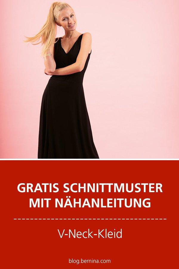 Photo of V-Neck-Kleid nähen mit Gratis-Schnittmuster und Nähanleitung