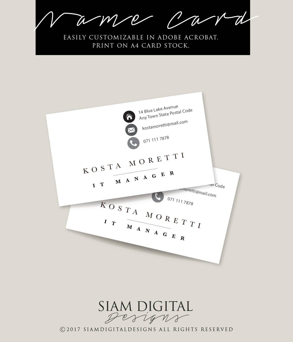 Stylish Business Card Template Edit With Adobe Acrobat Reader