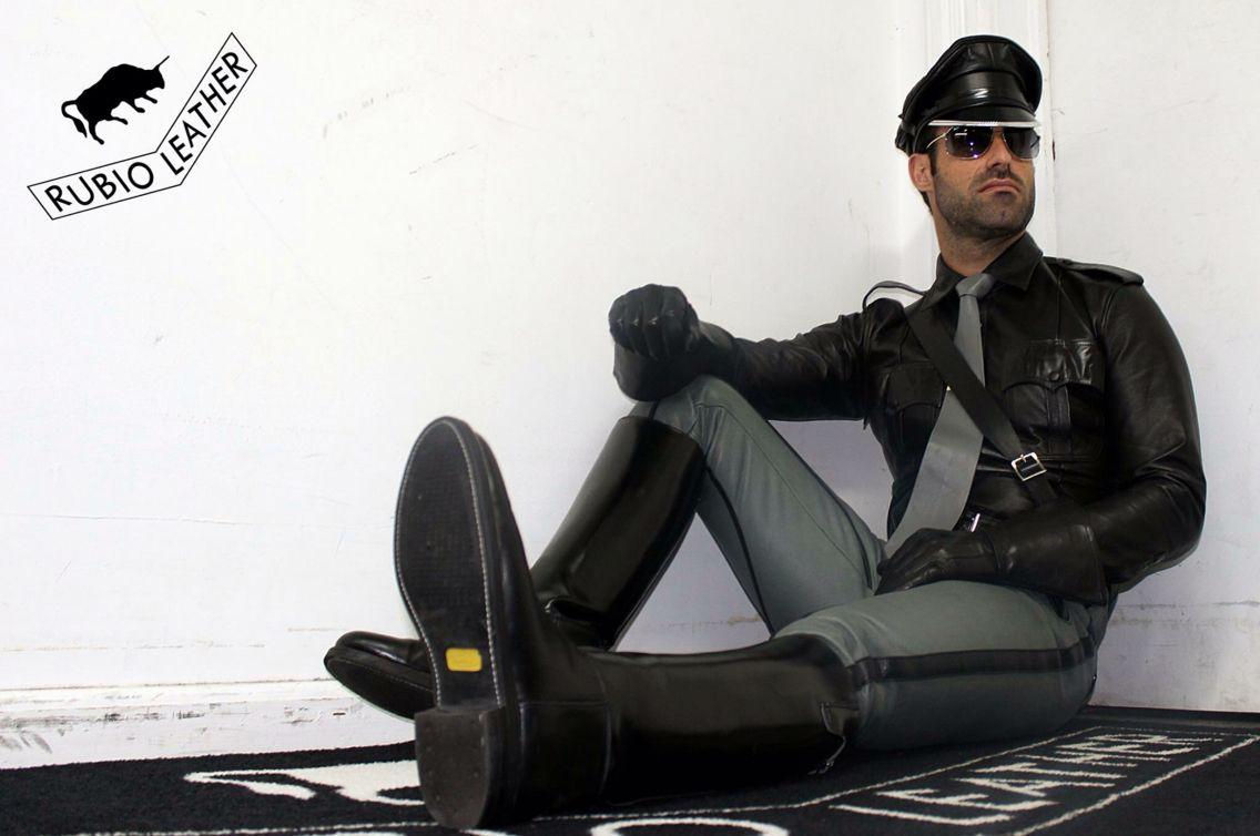 Black leather uniform gloves - Full Leatheruniform Black Grey By Rubio Leather New York