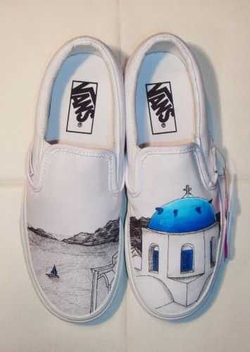 custom vans with hand drawn Santorini, Greece | shoes