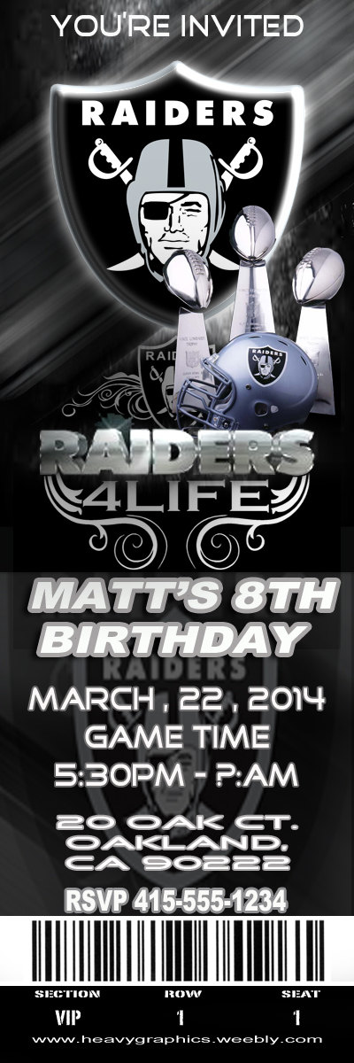 12 prints Oakland Raiders Party Invitations with by heavygraphics