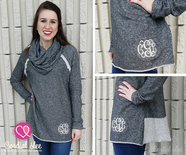 Monogrammed Cowl Neck Tunic Sweater from Cordial Lee ...