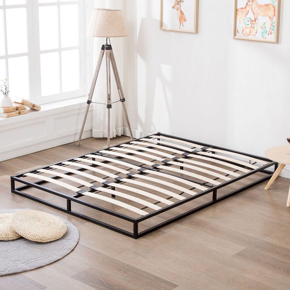 Full Size Wood Slats Metal Platform Bed Frame Mattress Foundation Bedroom