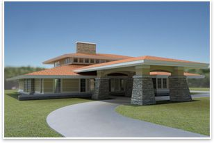 The Universal Design Living Laboratory Is A One Story Prairie Style Home  With Clerestory Windows, A Portico, And A Prairie Style Roofline.