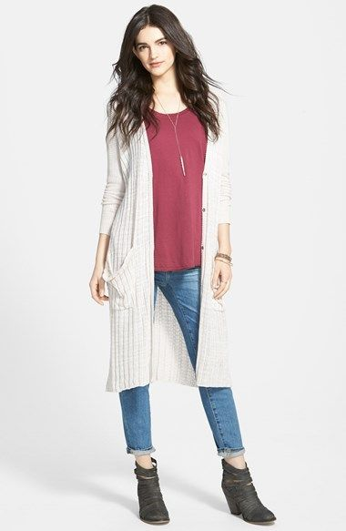 Free People Stripe Pocket Long Cardigan available at #Nordstrom