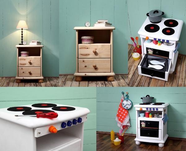 Dziecieca Kuchnia Na Niby Z Niepotrzebnej Szafki Nocnej Niezwykla Metamorfoza Nudnego Mebla W Kuchnie Do Zabawy To Fra Furniture Baby Toddler Toys Kids Room