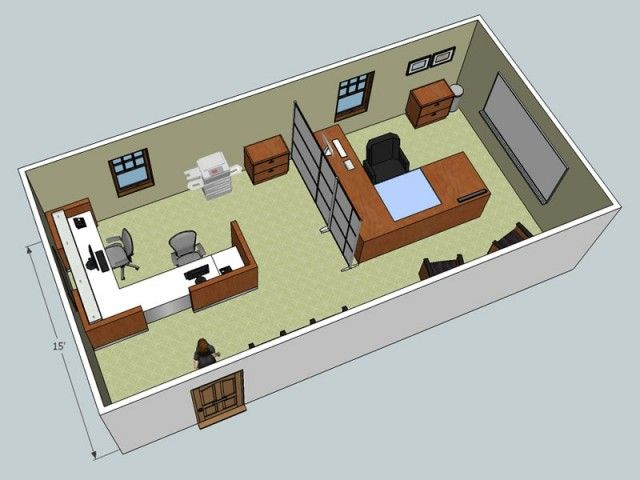 3d Layout Examples Small Office Design Office Layout Home Office Layouts