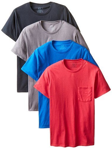 90432b21 Fruit of the Loom Men's 4-Pack Pocket Crew Neck T-Shirt - Colors May Vary,  Assorted, X-Large at Amazon Men's Clothing store: Athletic Tank Top Shirts
