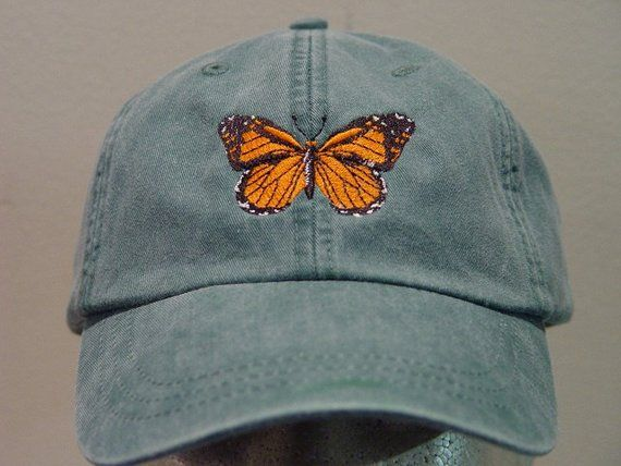 MONARCH BUTTERFLY HAT – Embroidered Men Women Insect Wildlife Cap – Price Embroidery Apparel – 24 Color Mom Dad Gift Milkweed Caps Available