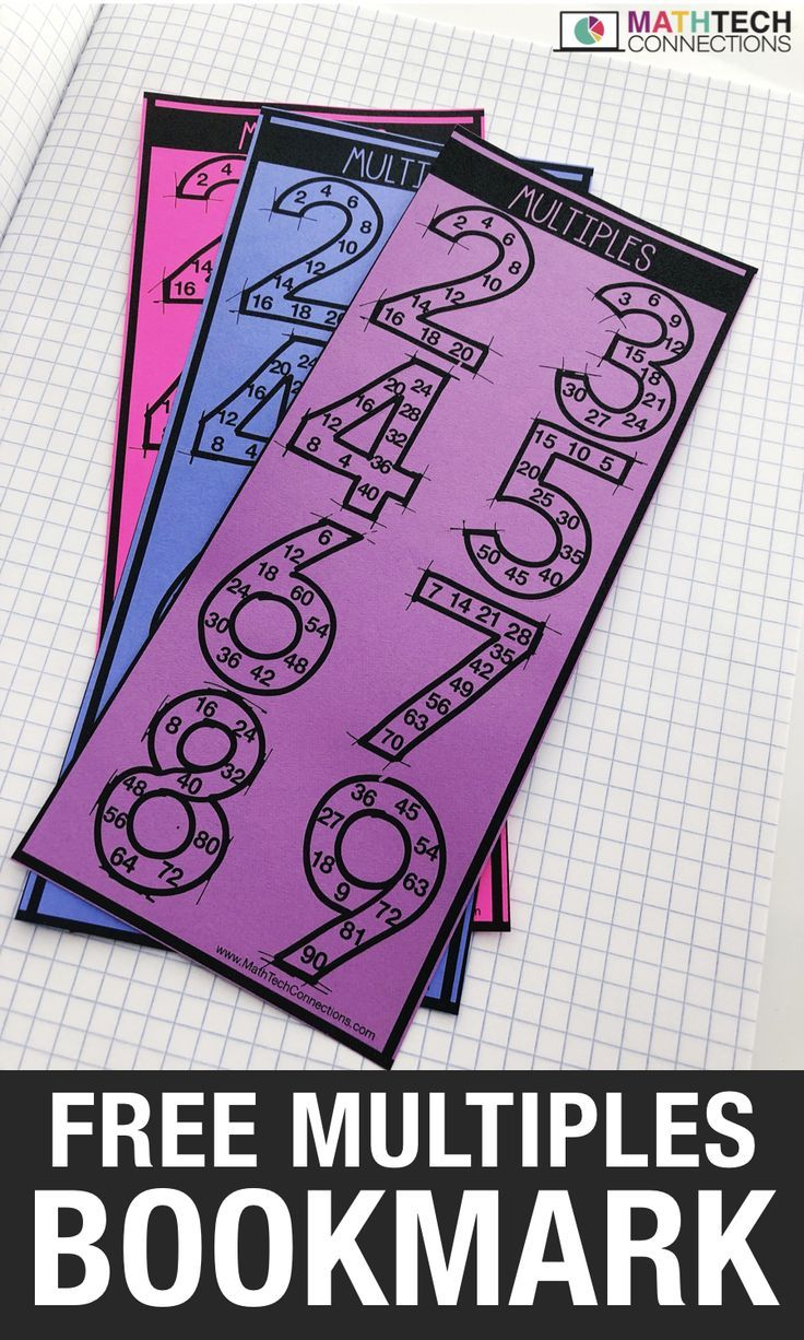 Use These Free Math Bookmarks To Review Multiples Students Skip Count To Find The Multiples Of Numbers 2 9 Gl Math Printables 3rd Grade Math Fifth Grade Math
