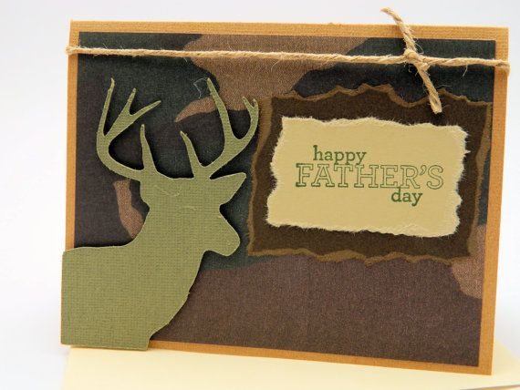 Fathers day cards happy fathers day camouflage card camo handmade greeting card fathers day buck silhouette die cut camouflage kraft and bookmarktalkfo Image collections