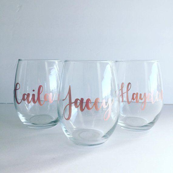 3a6300bcdb5 ROSE GOLD Stemless Wine Glass- Personalized - Bridal Glass - Custom Wine  Glass - Wine Glass - Bachel