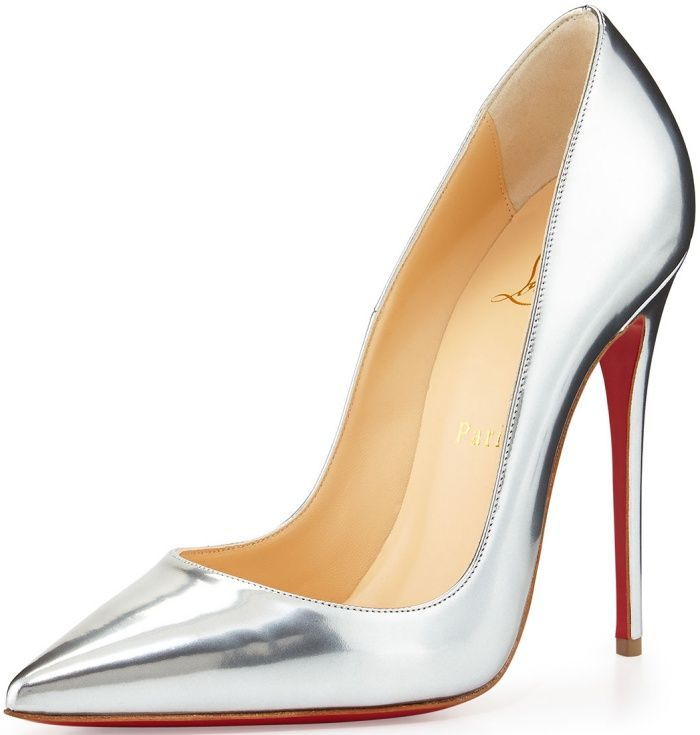 """d3f472676a8 Christian Louboutin """"So Kate"""" Pumps in Silver Metallic Leather ..."""