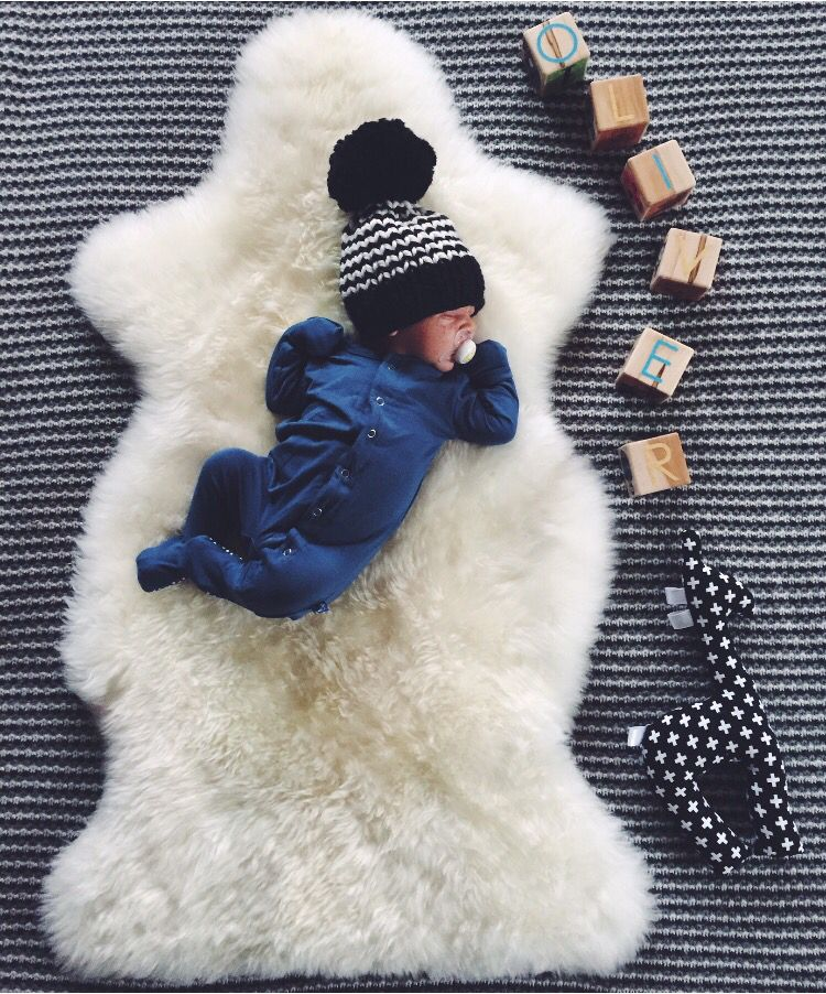 c43779af1adc9 newborn baby boy winter coming home outfit. chunky knit striped pompom  beanie. Long sleeve sleeper