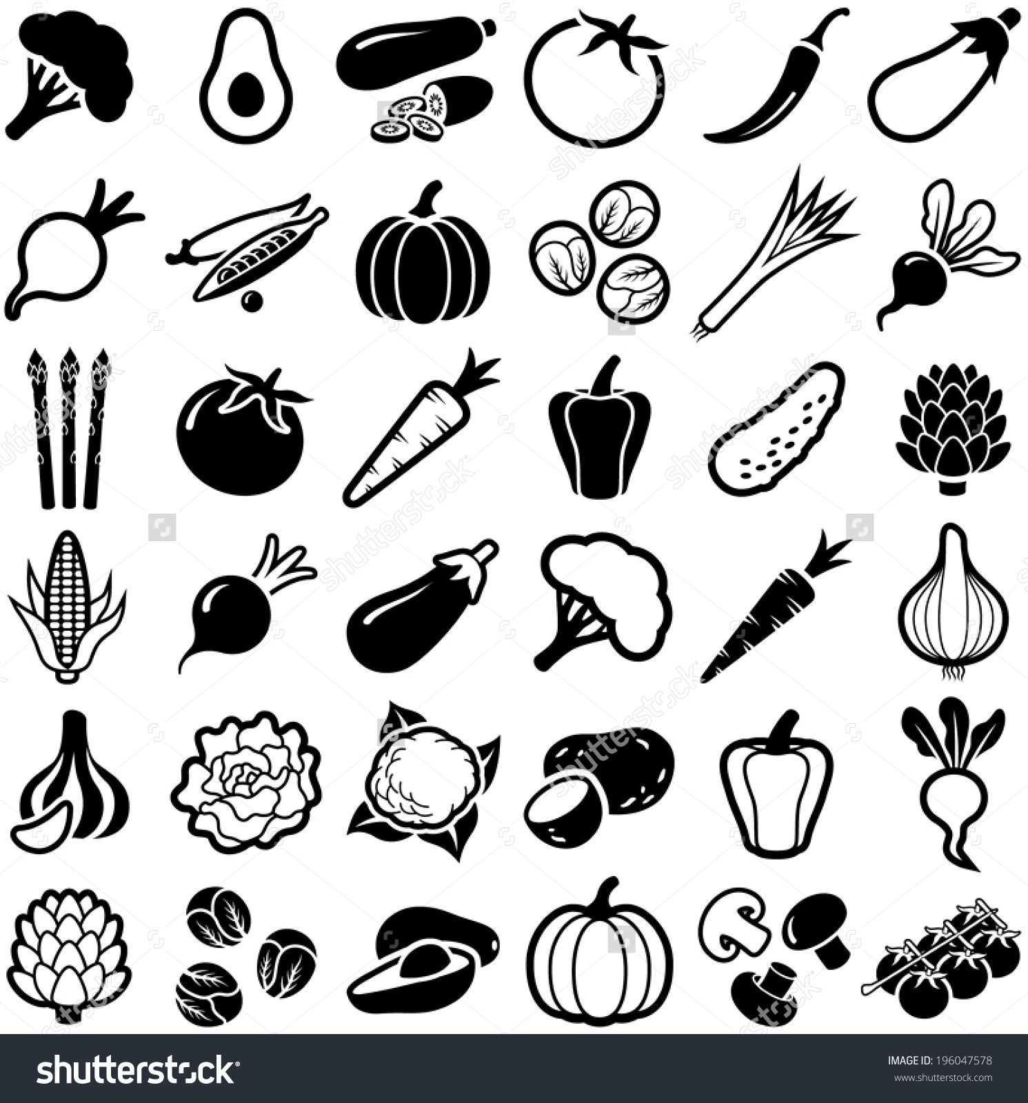 clipart vegetables black and white Google Search