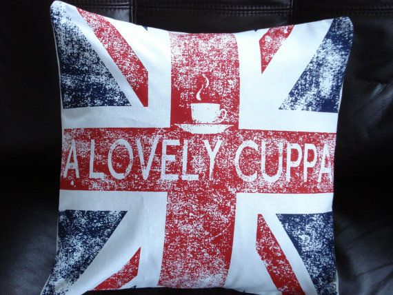 7e179f214 Throw pillow A lovely cuppa Union Jack UK flag cushion cover distressed 16  x 16 inches
