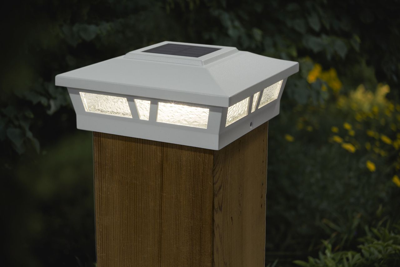 White Solar Post Cap Lights Two 5x5 Or 6x6 Metal Warm White Led White Lead Solar Post Caps Deck Post Lights