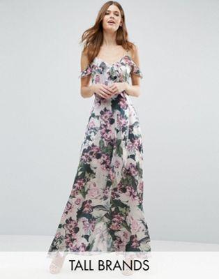 9d9e65c3b71 Vero Moda Tall Cold Shoulder Floral Print Maxi Dress