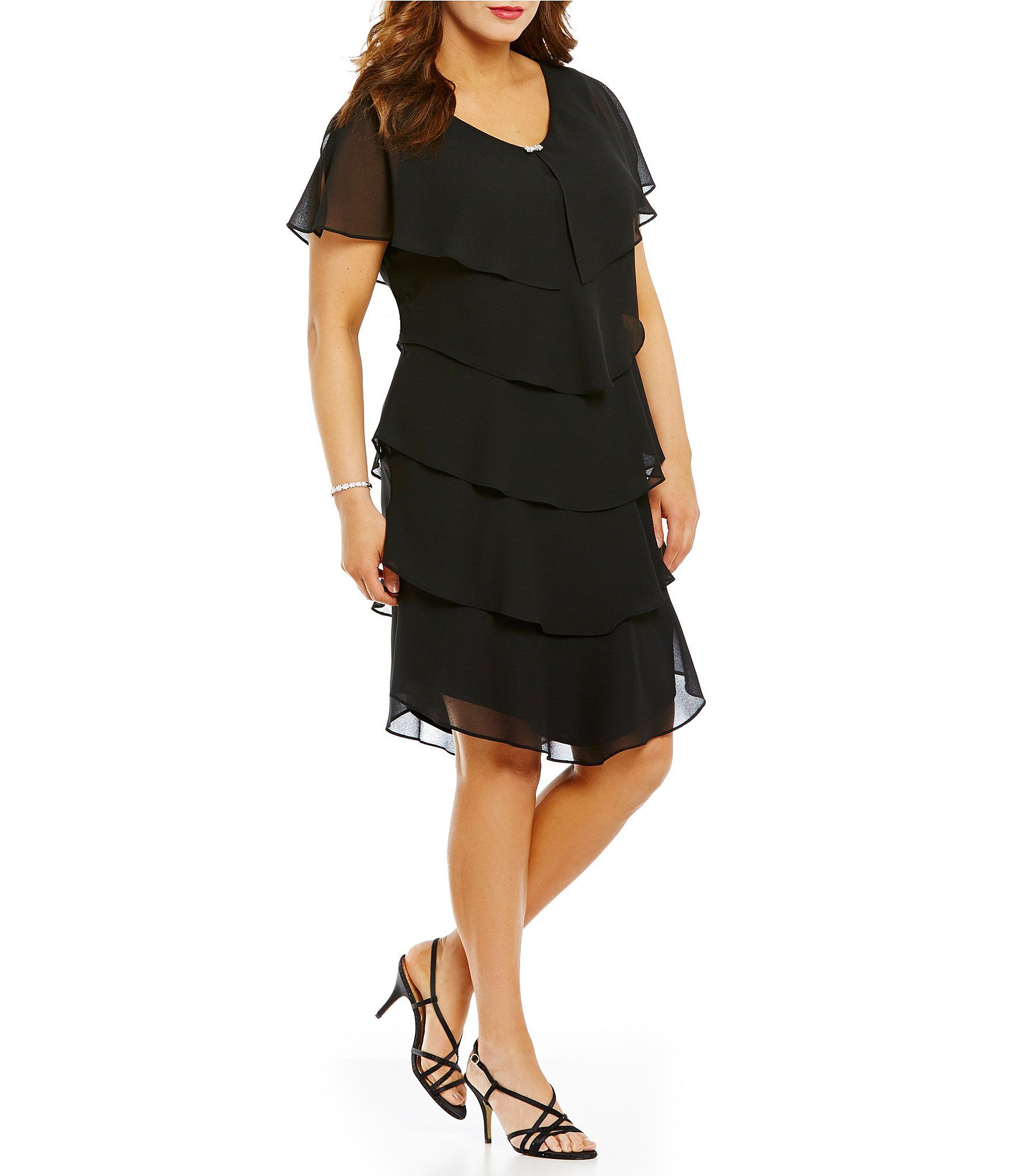 d95fb50f48d Ignite Evenings Plus Georgette Tiered Short Sleeve Capelet Dress in ...