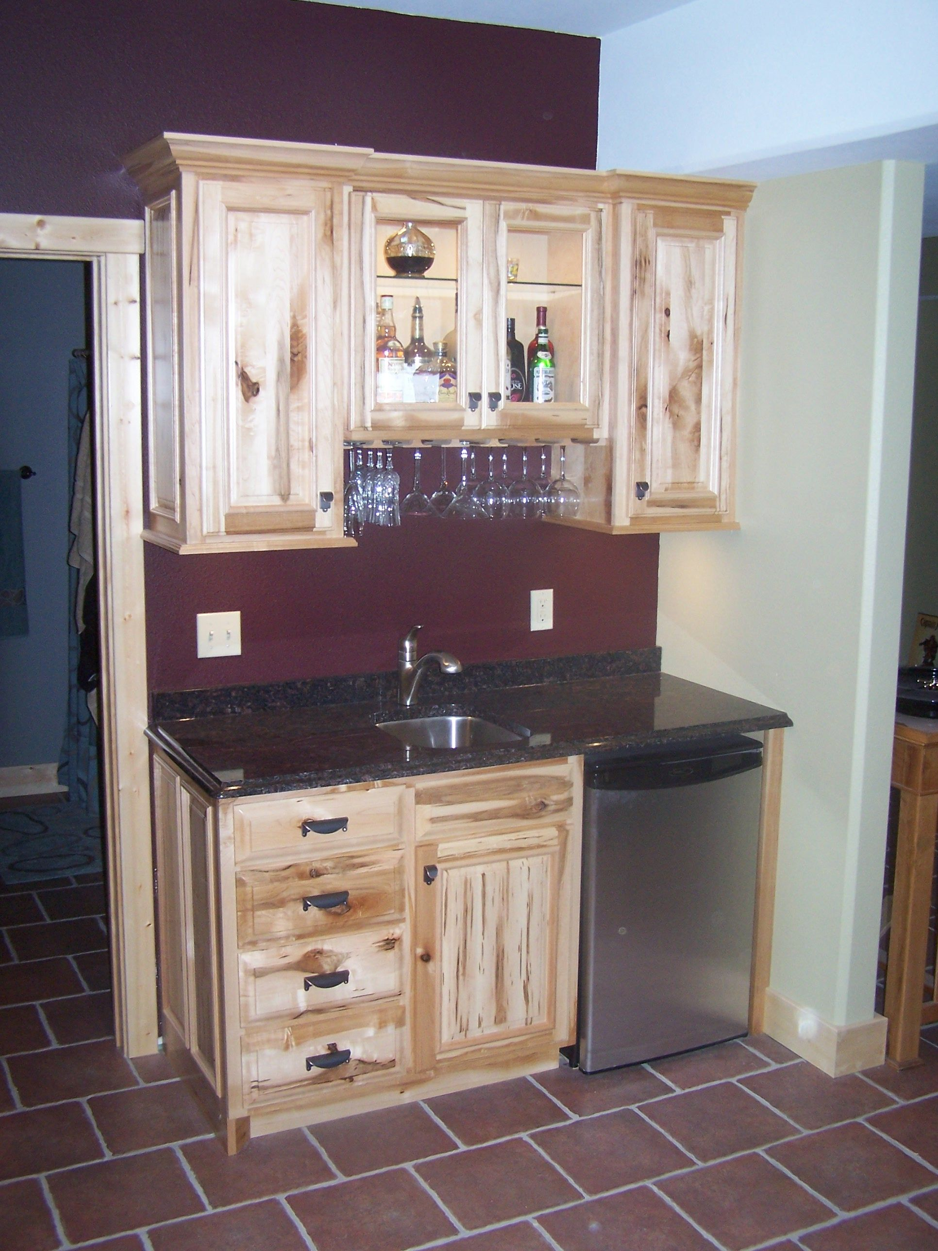 Hickory With Clear Coat Wet Bar In Family Room By Swita Cabinetry Wet Bar Hickory Kitchen Family Room