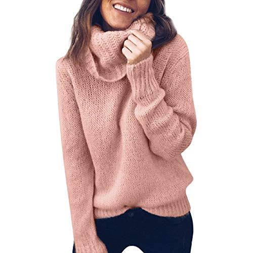 e070876d9ea1c Womens Turtleneck Sweater Loose Long Sleeve Knitwear Chunky Knit Sweaters  Warm Winter Jumpers Pullover Tops Blouse (Pink L)