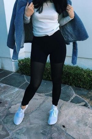 best loved a5610 f2833 Kylie Jenner wearing Adidas Tubular Defiant Shoes in Core White, Alo Mesh  Goddess Leggings, Storets Teddy Boy Boucle Biker Jacket and Majestic  Filatures ...