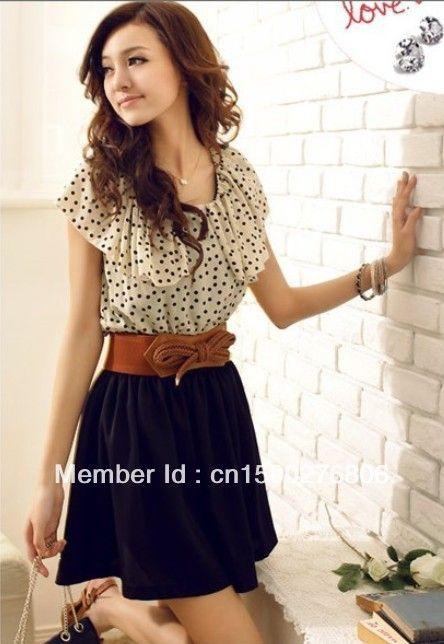 fb521d4857 With Belt 2013 Summer New Fashion korean Chiffon Mini Dress women  Short-sleeve Dots Polka best selling casual dresses  9.38