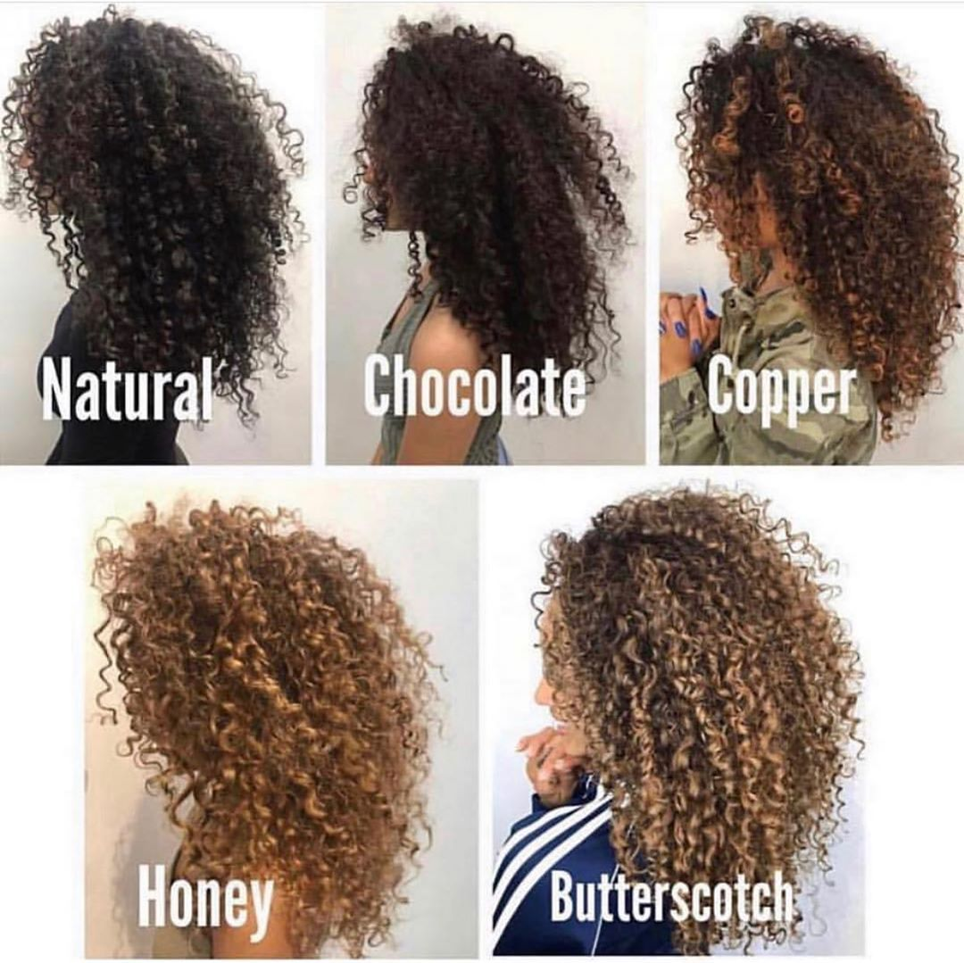 We Curls Thenaturalslife On Instagram Which Color Is Your Fav Comment Sayriaj In 2020 Curly Hair Styles Dyed Curly Hair Highlights Curly Hair