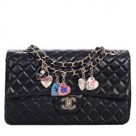 c9f76d4c7c56 Chanel Limited Edition Valentine Charm Porte Bonheur Flap Bag in Black|  World's Best