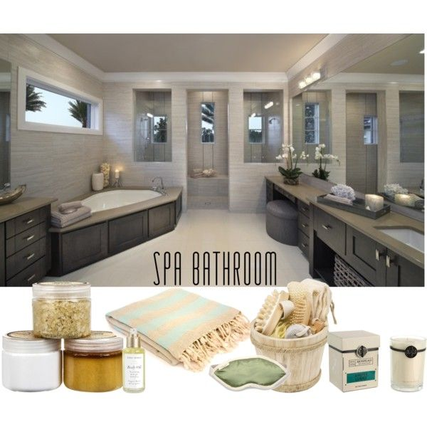 """""""Luxury Spa Bathroom"""" by musicfriend1 on Polyvore Like it more if the bath tub was towards the middle of room off the wall"""