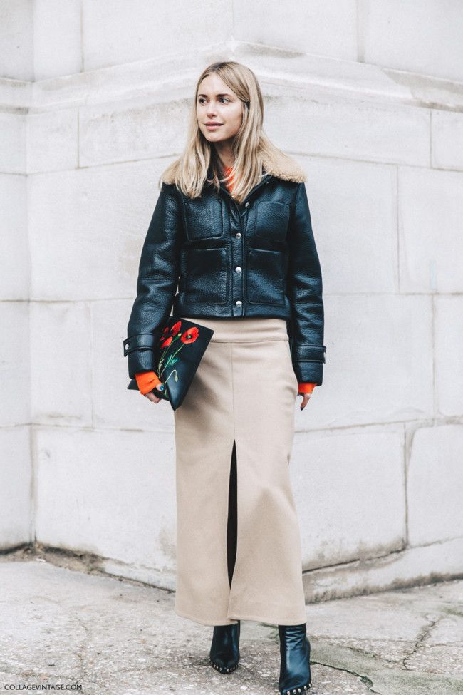 Pfw Paris Fashion Week Fall 2016 Street Style Collage Vintage Pernille Teisbaek Camel Skirt Celine Boots 4