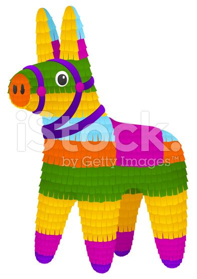 vector illustration of a colorful piñata in the shape of a donkey