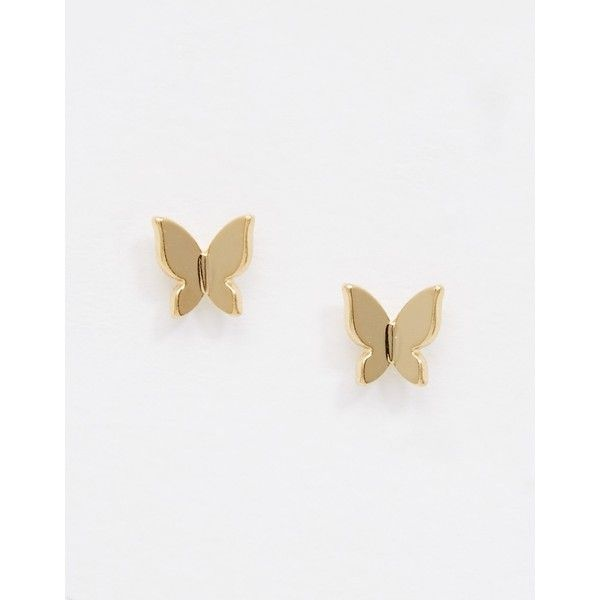Orelia Origami Butterfly Stud Earrings ($8.64) ❤ liked on Polyvore featuring jewelry, earrings, pale gold, gold butterfly earrings, gold jewelry, yellow gold jewelry, monarch butterfly jewelry and orelia jewellery