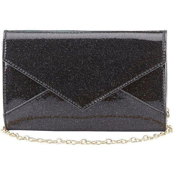 Charlotte Russe Glitter Envelope Crossbody Bag (53 BRL) ❤ liked on Polyvore featuring bags, handbags, shoulder bags, black, chain strap purse, handbag purse, hand bags, purse shoulder bag and shoulder handbags