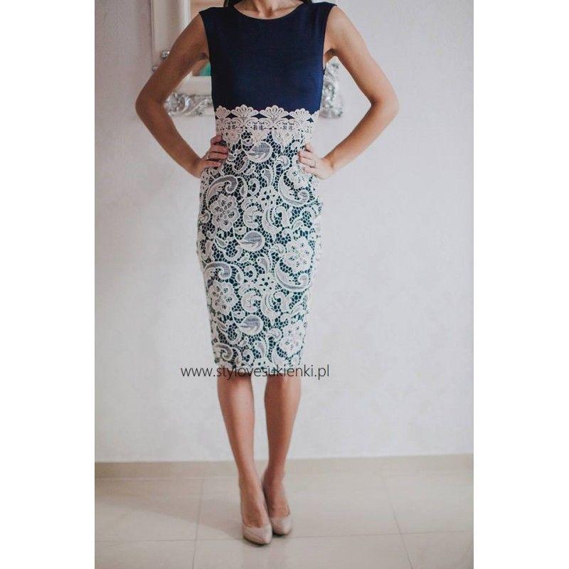 a3e0aa68 Granatowa ołówkowa sukienka midi z koronkową beżową spódnicą ...