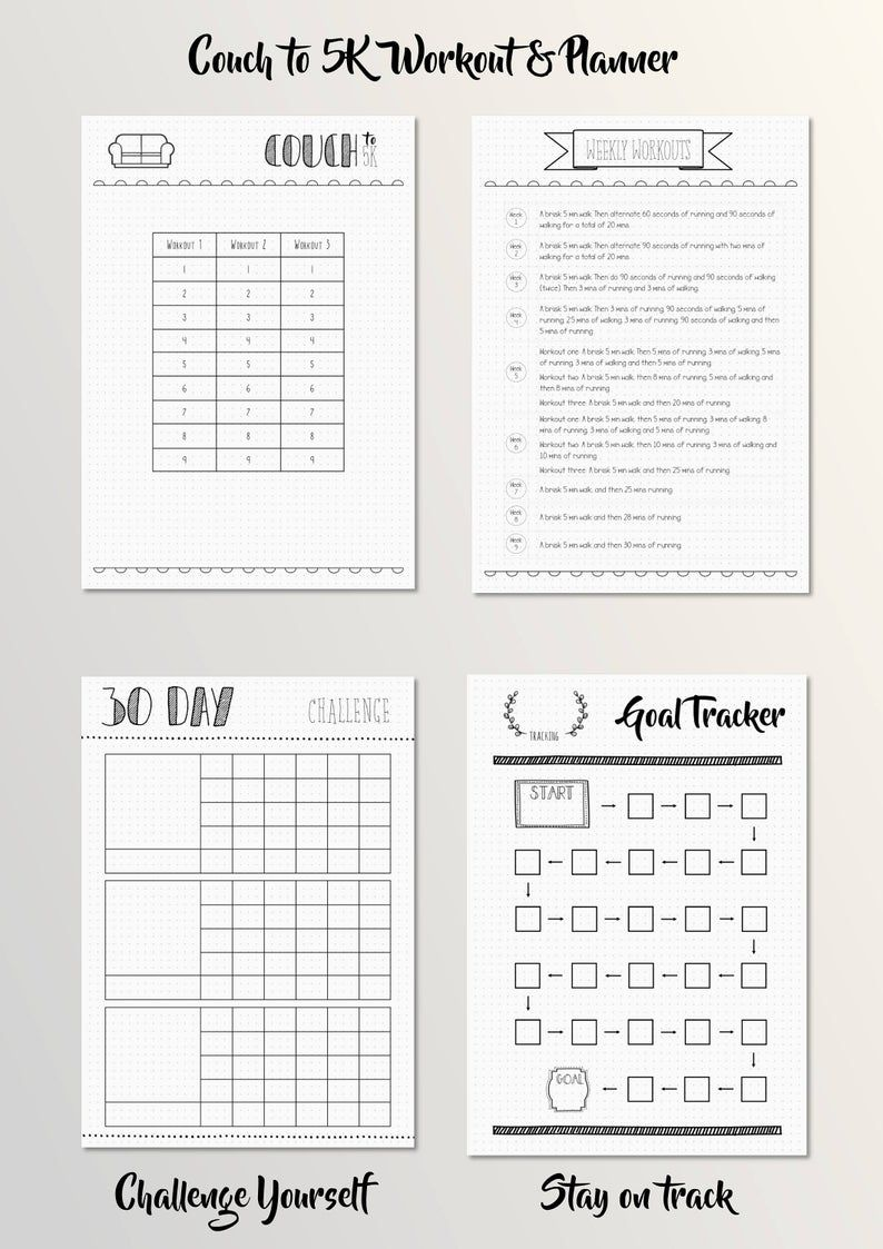 Bullet Journal  Health and Fitness  Planner  Dotted Grid  | Etsy