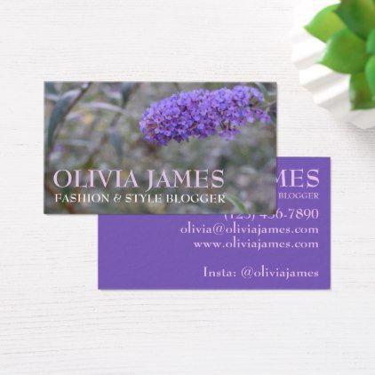 Pretty Purple Flowers Nature Garden Photography Business Card