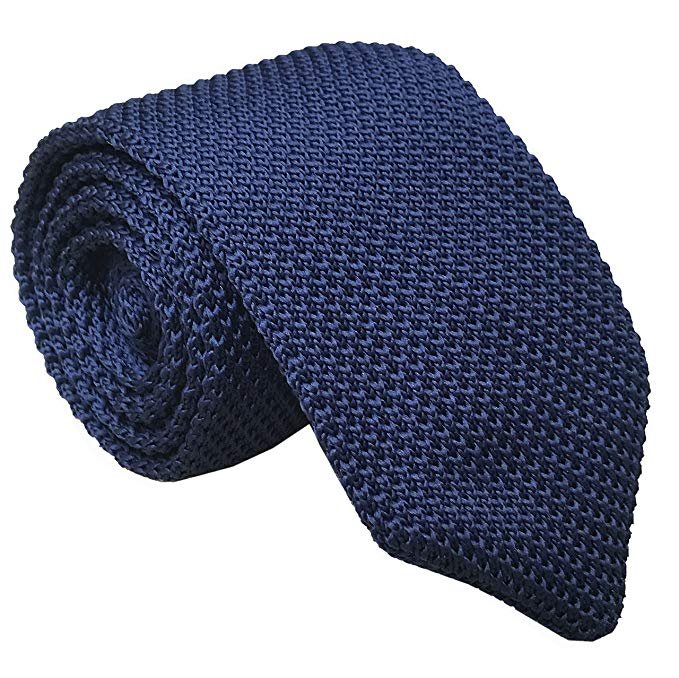 "2.5/"" // 6.5cm Wide Benchmark Ties 100/% Wool Knit Tie in Navy Blue"