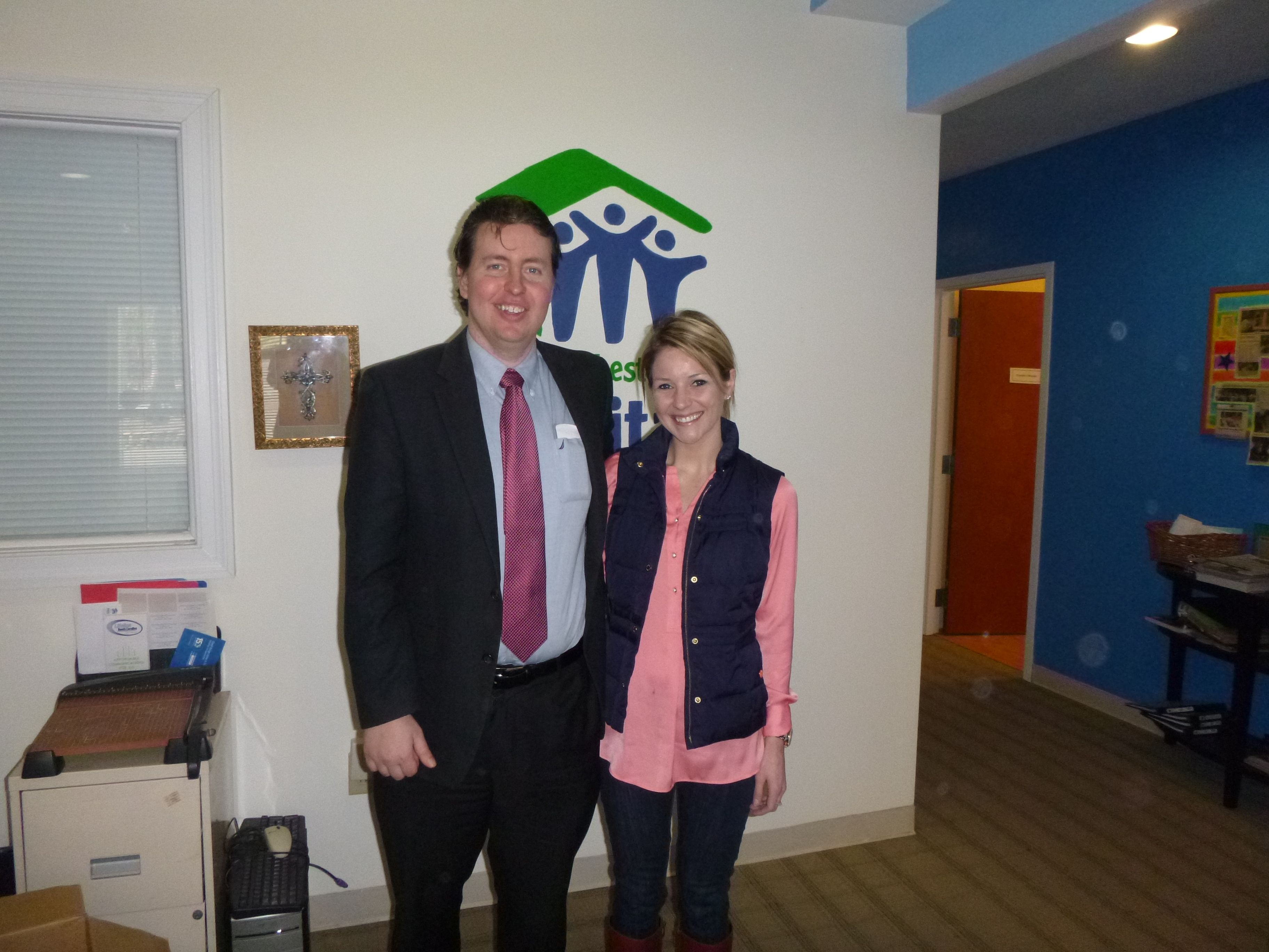 #Attorney Evan Guthrie with Lauren Sprinkle, Charleston School of Law Class of 2016 at the South Carolina Bar Young Lawyers Division Habitat For Humanity Wills Clinic at Dorchester Habitat in Summerville SC, On Saturday February 15th, 2014.
