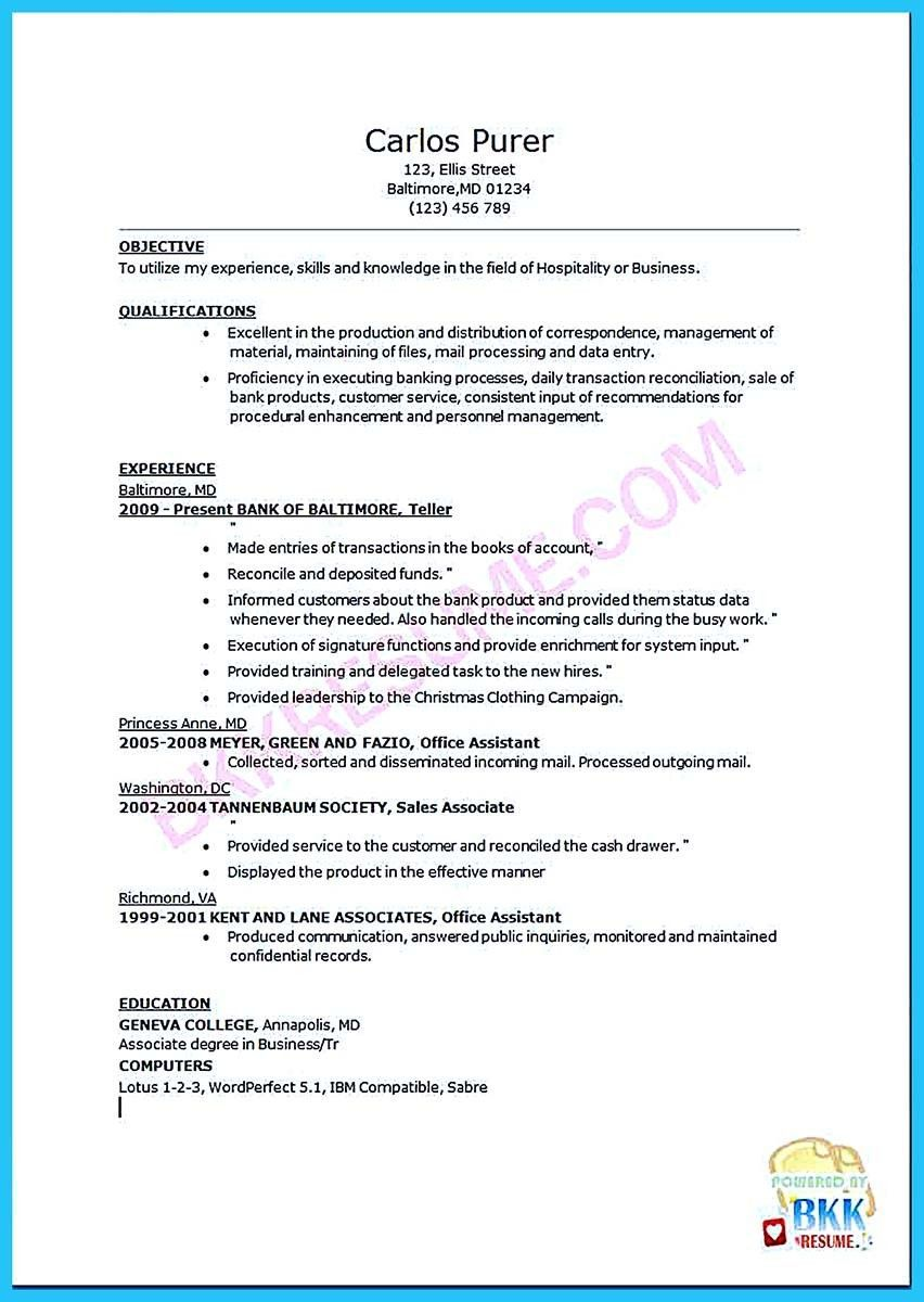 jobresumeexamples Bank teller resume, Job resume