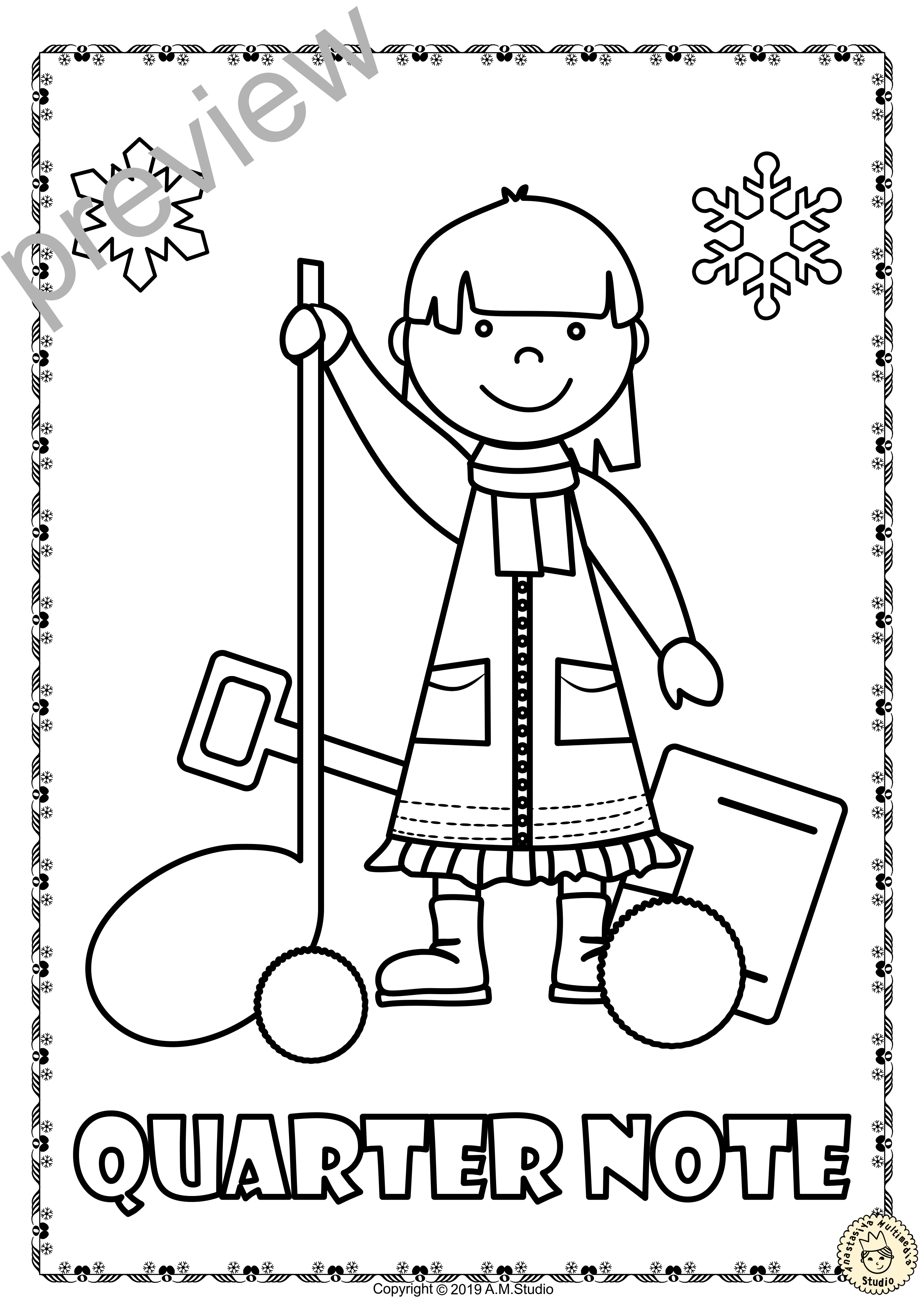 Winter Musical Posters For Coloring