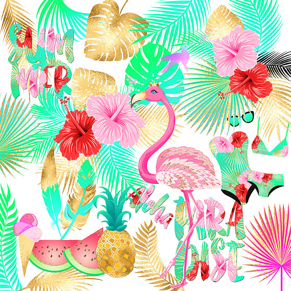 Tropical Clipart Summer Clipart Flamingo Clipart Pineapple Watermelon Tropical Leaf