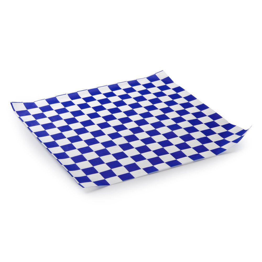 50 sheets white and blue checkered deli wrap paper 12 x12 wax paper