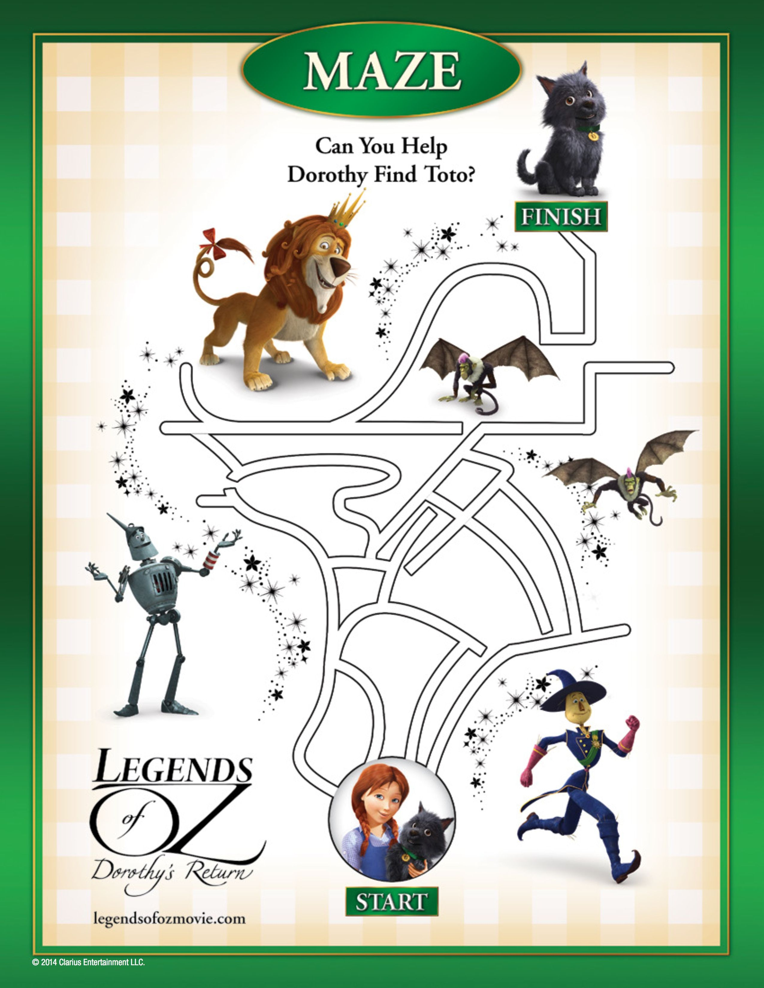Legends Of Oz Activity Sheets Featuring Dorothy Toto And