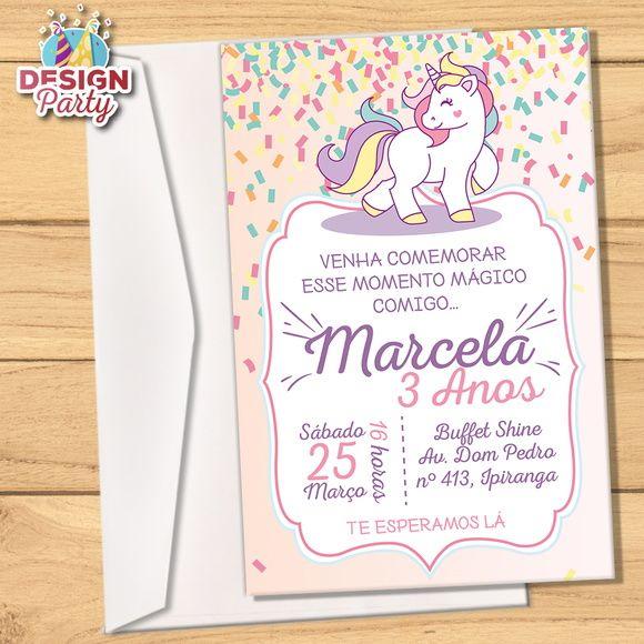 Convite Impresso Unicórnio Fitas Design Party Elo7 Paper