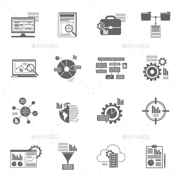 Data Analytics Icons by macrovector Data analytics