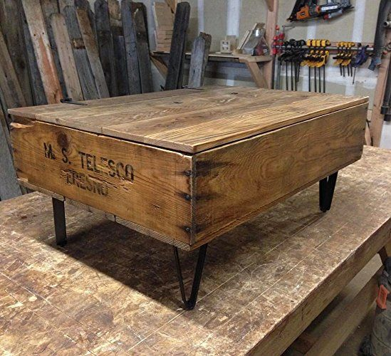 Attrayant Reclaimed Fruit Crate Coffee Table With Metal Legs And Hinged Blanket  Storage