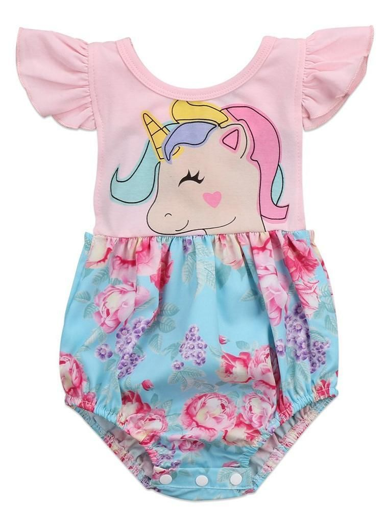 f88a9fbfb Unicorn With Blue Floral Baby Girl Summer Romper