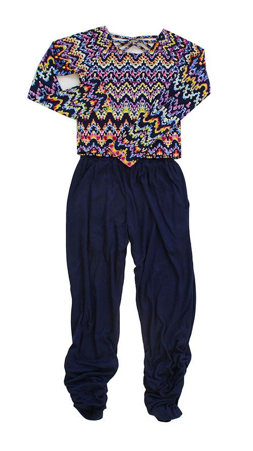 Flowers by Zoe Aztec Top with Ruched Leg Pant in Navy PREORDER $88.00
